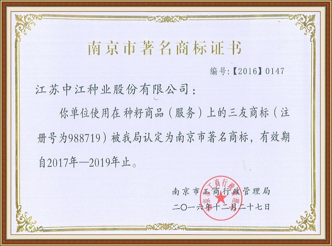 2016年度南京市著名商标证书