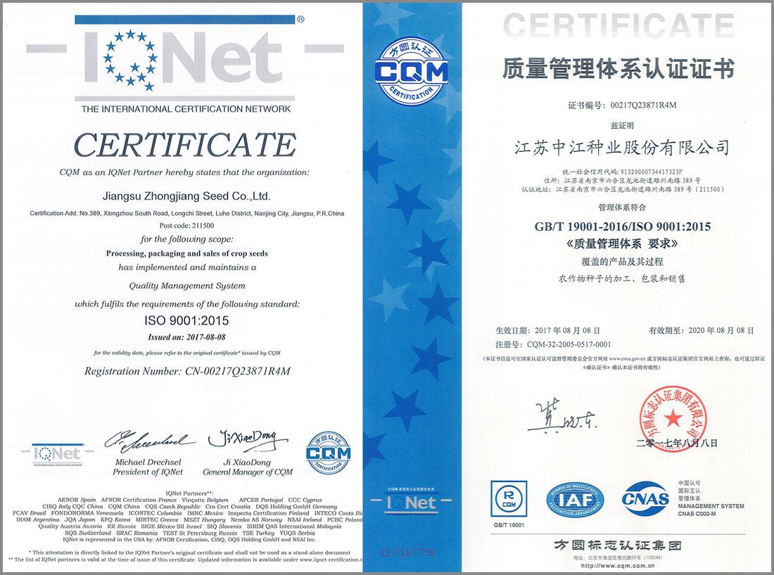 2017年度质量管理体系认证证书